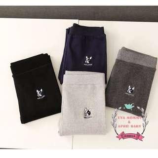 EVA EVA SHOP 冬季新品-修身彈力刺繡鬥牛犬純棉磨毛內搭褲