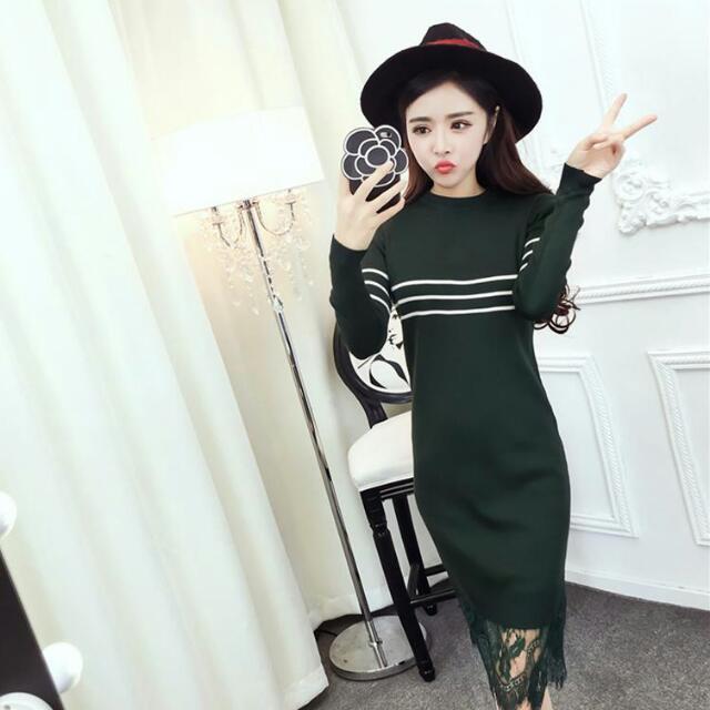 針織拼接蕾絲修身連衣裙(2色) 🌟預購款