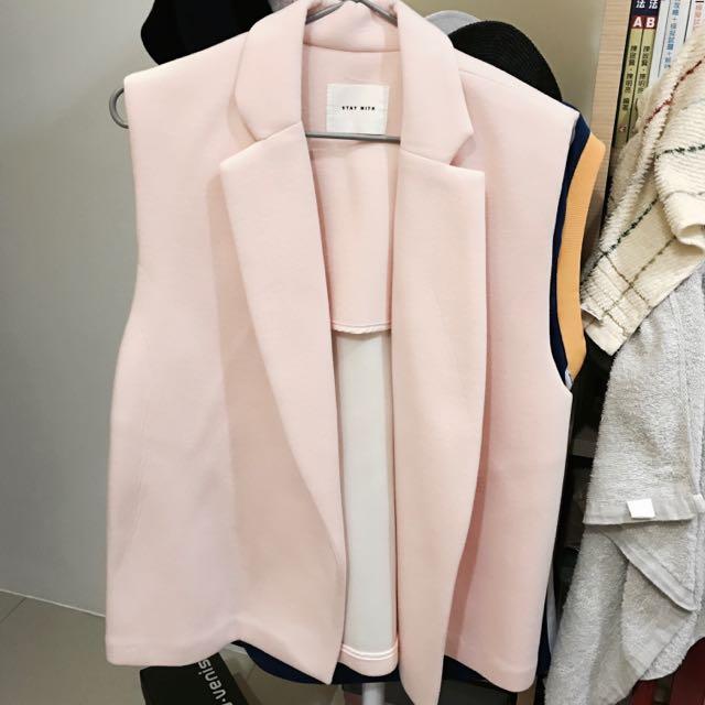 正韓粉紅太空棉西裝背心外套