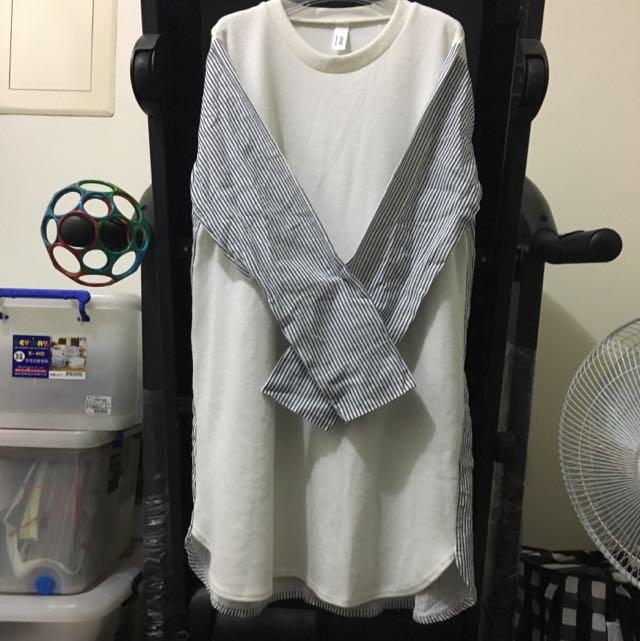 白色拼接條紋長版上衣
