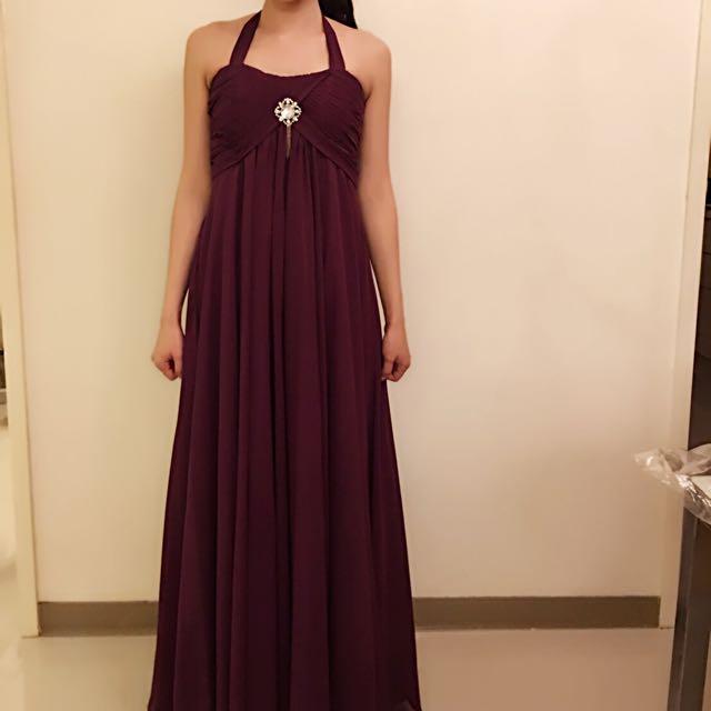 綁脖式紫羅蘭寶石抓皺長款婚紗 晚禮服 敬酒 送客 宴客 歸寧 伴娘服