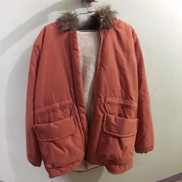 (全新) Rainbowshop 雙口袋內刷毛連帽厚外套-橘色  #我媽媽年輕時