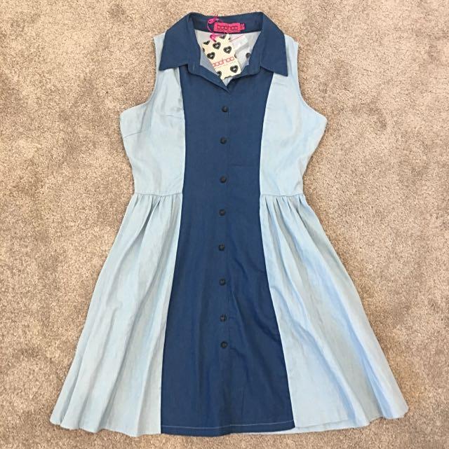 Boohoo Blue Denim Shirt Dress