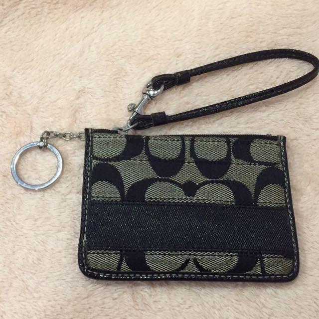 COACH黑色經典logo零錢包/悠遊卡夾