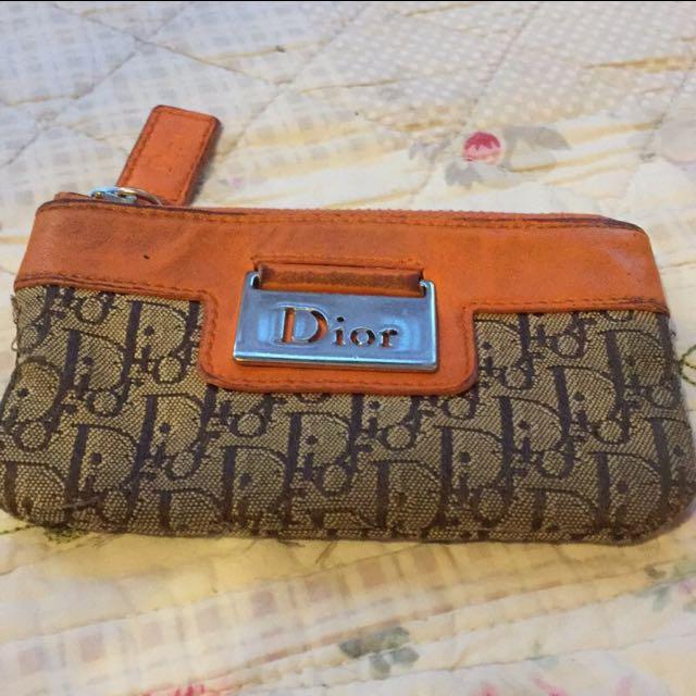 Dior橘色經典logo零錢包