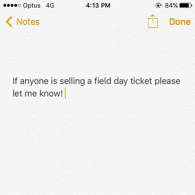 Field Day Ticket