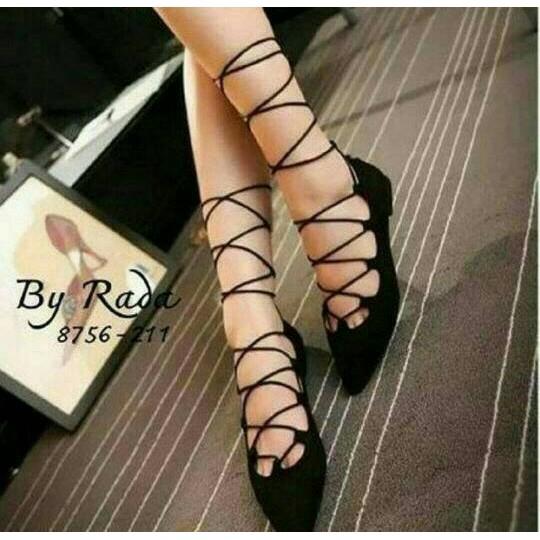 flat shoes ballerina hitam