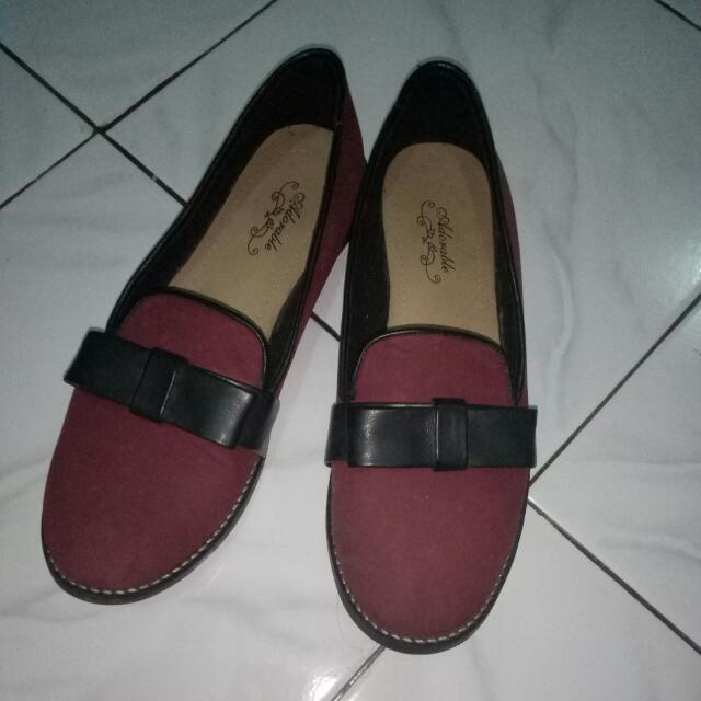 Flat shoes Maroon With Bow