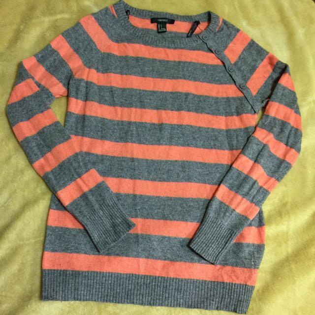 日本帶回的Forever 21灰橘線條柔軟針織上衣