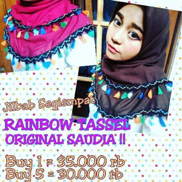 Jilbab Segiempat Rainbow Tasel Original Saudia