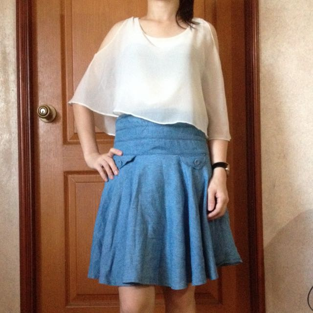 Korean Inspired Upper and Demin Skirt