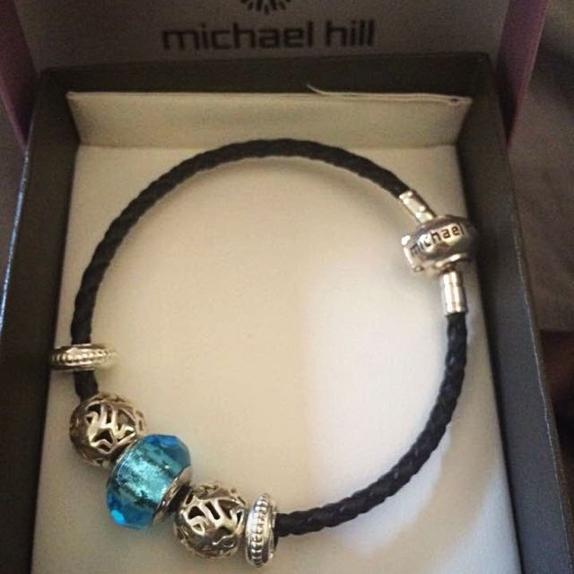 Michael Hill Leather Charm Bracelet With Charms