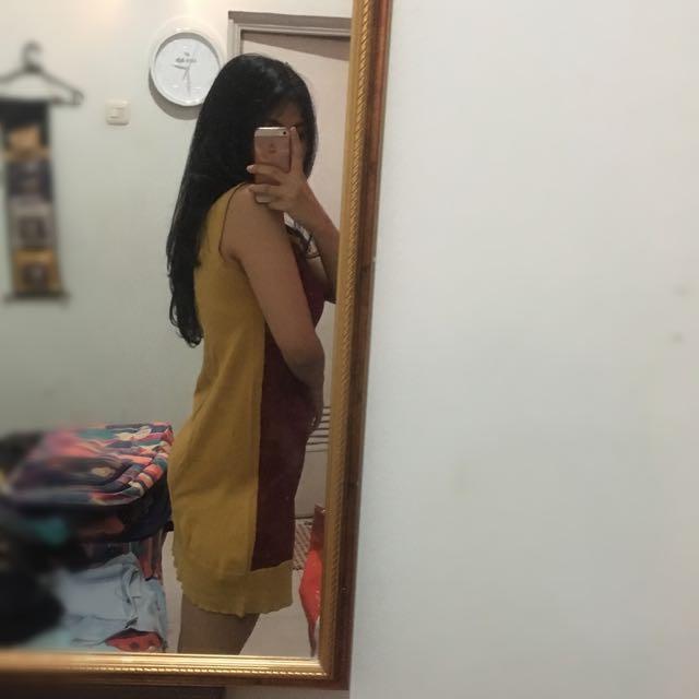 Mini Dress Two Tone Knit