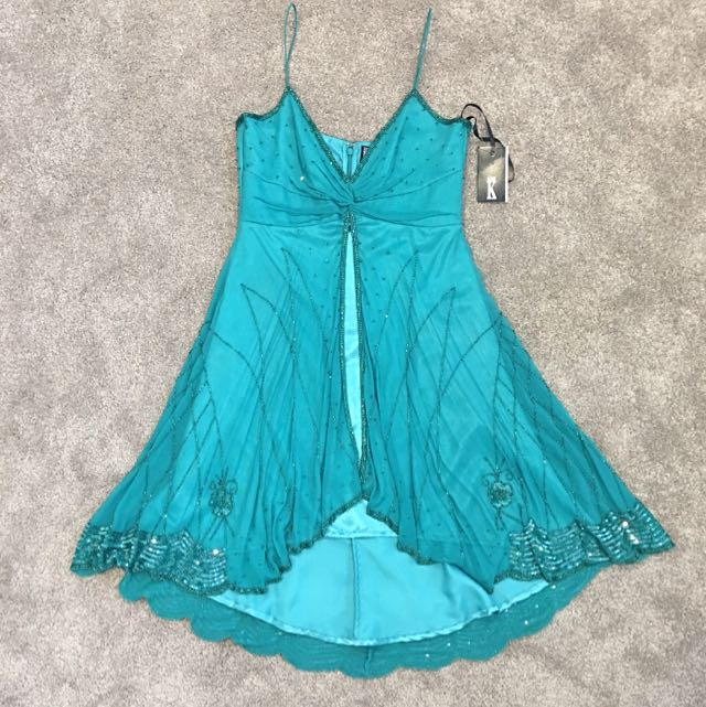 New Mr K Green/Teal Beaded Cocktail Dress