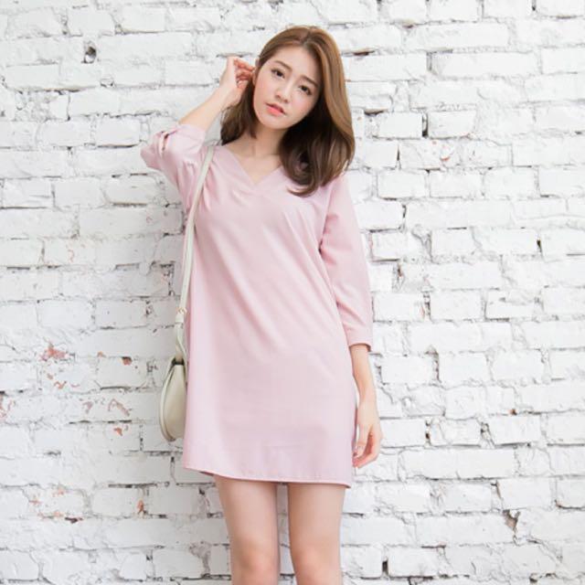 ✨含運✨OB嚴選 全新交叉V領粉色洋裝