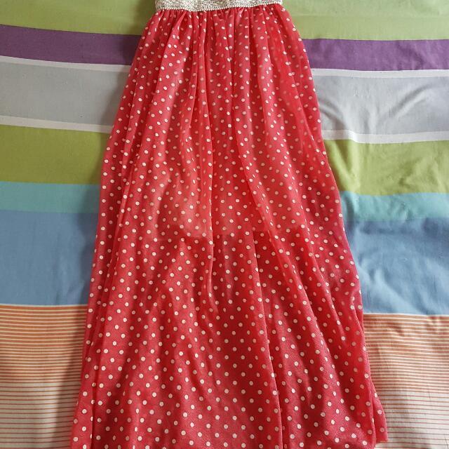 Pink Polka Dot Maxi Skirt