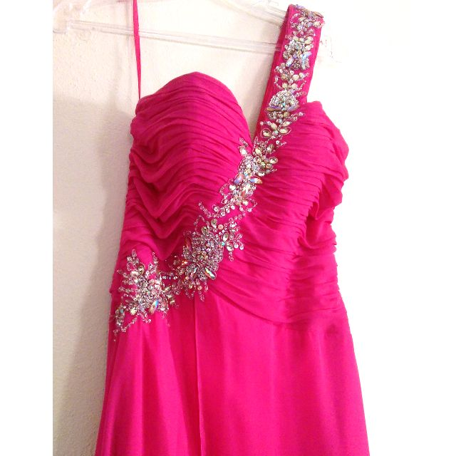 Pink Strapless/One-Shoulder Formal Ball Dress Size 8 RRP $398