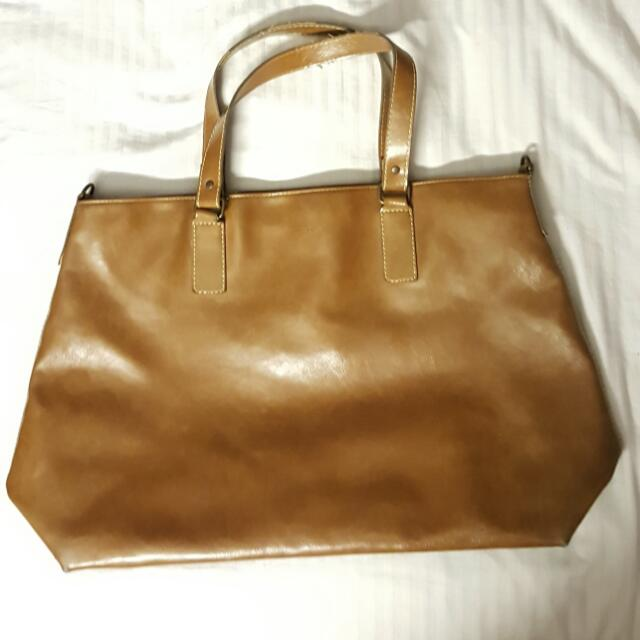 Seed Brown Leather Shopper Tote Large