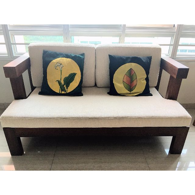 Solid Antique Wooden Sofa Old Wood From Myanmar With Modern