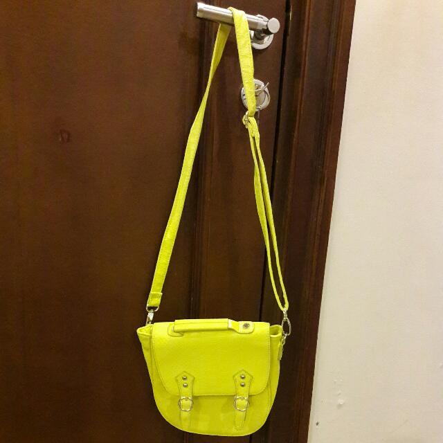 Steve Madden Neon Yellow Sling Bag