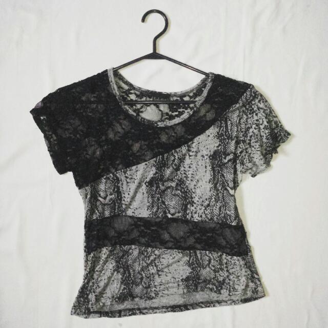 unique lace and cotton top