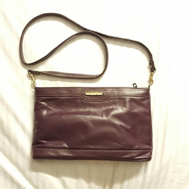 Vintage Purple Atlas By Helou Genuine Leather Clutch Sling Bag