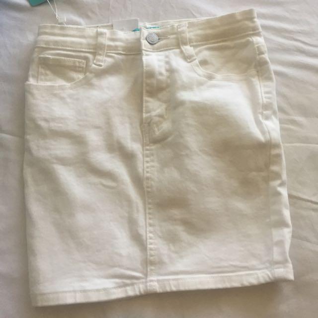 White Denim Miniskirt