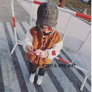 EVA EVA SHOP冬季新品-男女寶寶兒童加絨加厚刷毛保暖撞色愛心貼布棒球外套