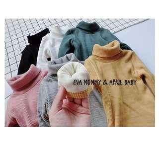 EVA EVA SHOP冬季新品-男女寶寶兒童螺紋高領刷毛保暖內搭糖果色上衣