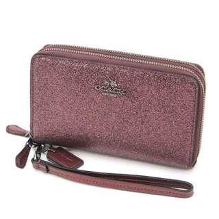 Coach Glitter Fabric Zip Phone Wallet Metallic Cherry F53646