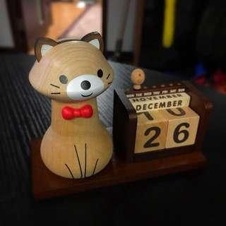 木製貓貓萬年曆