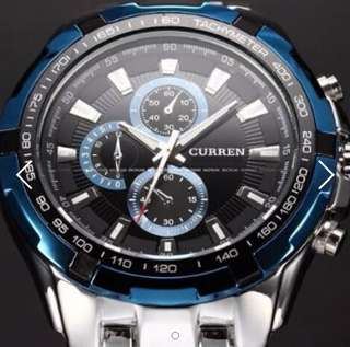 BN Stainless Steel Blue-Black Edition Fashion Sports Curren Watch