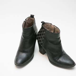 Cow Leather booties with studs from ZARA