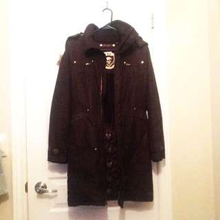 XS Aritzia TNA Chocolate Brown Long Parka