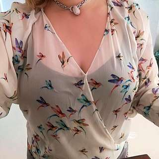 Zara Traffaluc Birds Top