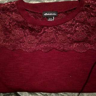 Burgundy Lace Shirt