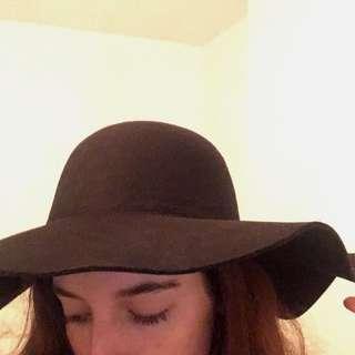 Brand New Black Wide Brim Wool Hat