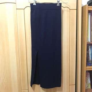 👗針織 窄裙 小開叉 深藍色