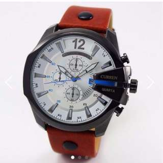BN Premium Curren Brown Strap White Face Blue Dials