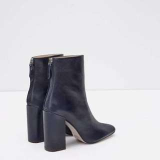 ZARA Navy Leather Ankle Boots With Block Heel