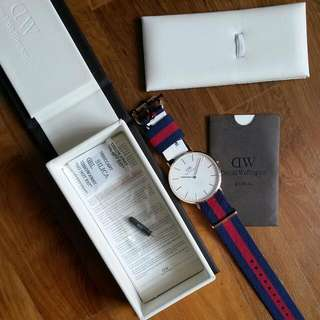BN DW DANIEL WELLINGTON MEN'S AUTHENTIC 40MM NYLON NATO STRAP WATCH