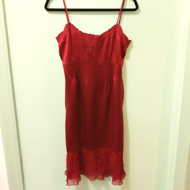100% Silk Alannah Hill Red Slip Dress