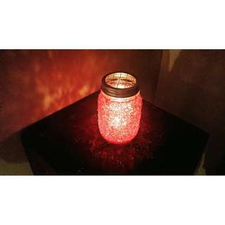 Seed Beads On Mason Jar With Tea Light