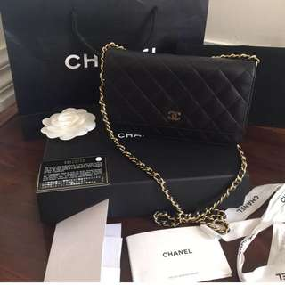 Authentic Chanel woc Wallet On Chain Black caviar Leather Store Receipt 1/2016