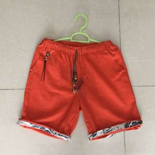 Orange Shorts with Turn-Up Detail