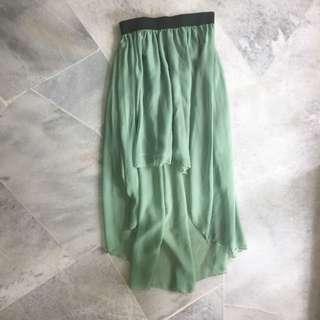 High Waisted High Low Chiffon Skirt