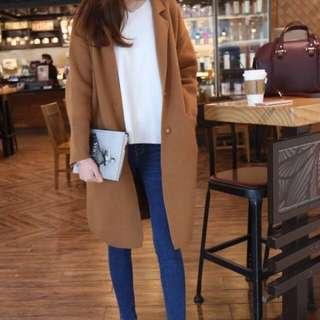 全新正韓挺版小翻領口袋長版80%羊毛外套