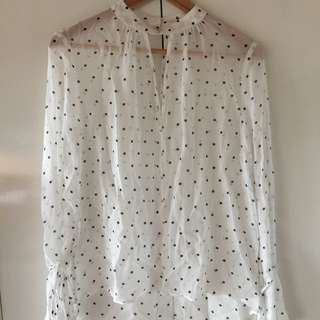 Ladies Polka Dot Chiffon Blouse