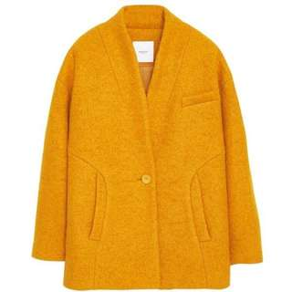 Mango 薑黃50%羊毛大衣