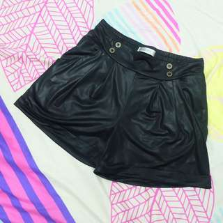 Kitschen Black Leather-a-like Shorts